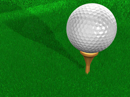 High resolution golf ball on the fresh cut green grass.  Quality 3D rendering, very photorealistic. Super sharp focus, you can clearly see each blade of grass.