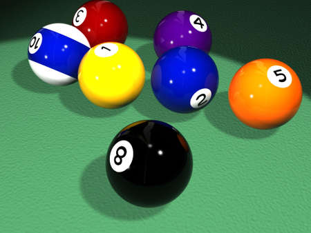High quality 3D rendered billiard (pool) scene with various balls on the pool table surface. Stock Photo