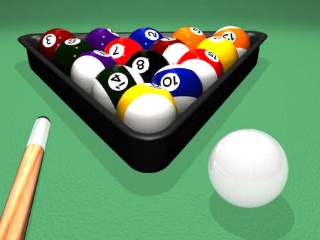 High quality photorealistic 3D rendered billiard (pool) scene with balls in the plastic triangle and a cue next to the white cue ball on the pool table surface. High quality reflections and shadows.
