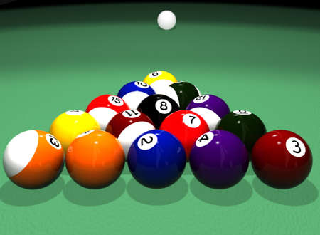 High quality photorealistic 3D rendered billiard (pool) scene with white cue ball in the distance photo