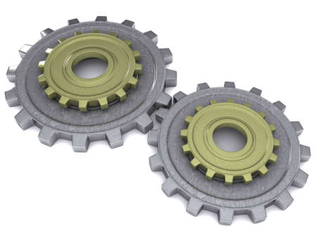 High quality rendering of a metal gears on white background