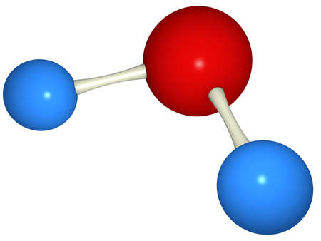 Water (H2O) molecule representation over white background. 3d rendering