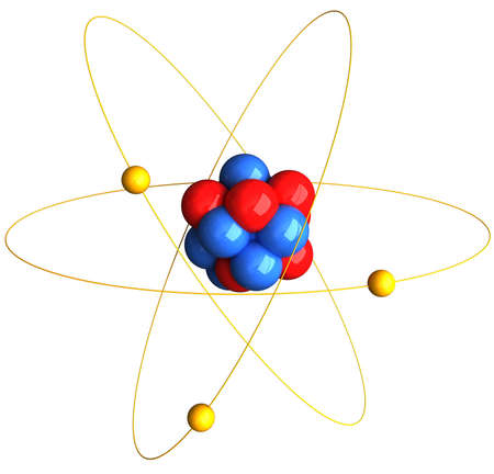 3D Rendering of an atom over white background