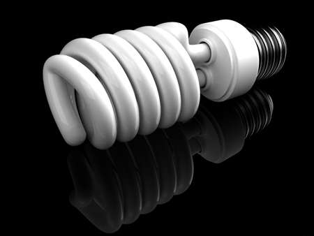 This is a type of energy saving lightbulb that will fit into standard light bulb socket. High quality 3D rendering over black reflecting background.  Stock Photo