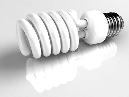 This is a type of energy saving lightbulb that will fit into standard light bulb socket. High quality 3D rendering over white reflecting background.  Stock Photo