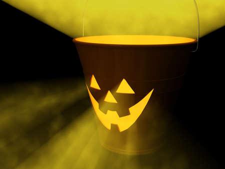 Orange glowing jack-o-lantern bucket for Halloween. 3D Rendering.
