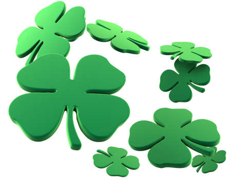 four objects: Lots of four leaf clovers for St. Patricks Day. 3D rendering.