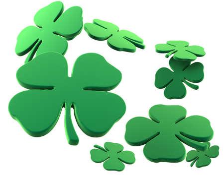 four leaf: Porciones de cuatro tr�boles de la hoja para la representaci�n del d�a 3D del St. Patrick.