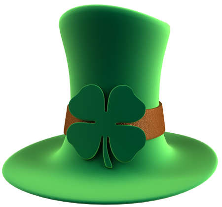 St. Patricks day leprechauns green velvet hat with four leaf clover decoration. High quality 3D rendering. Isolated over white background. photo