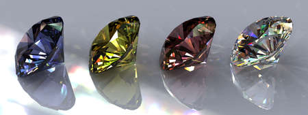 Four brilliant cut diamonds of different colors with reflections. Clear, pink, yellow and blue. Photorealistic 3D rendering with HDR and caustics.