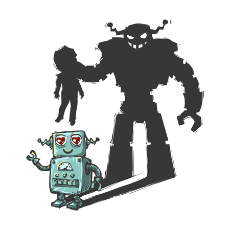 cute robot shadow with evil intention