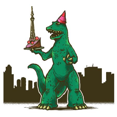 T-Rex birthday party in Tokyo Vector illustration.