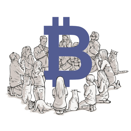 Bitcoin new religion worshipers Stock Illustratie