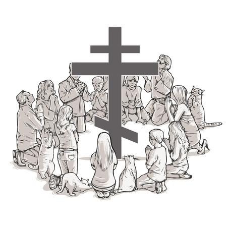 ortodox church worshipers Illustration