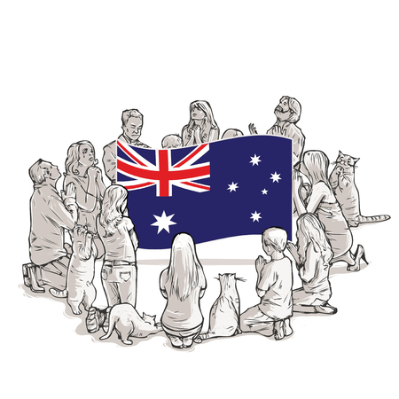 People pray for Australia Illustration