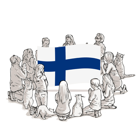 People pray for Finland