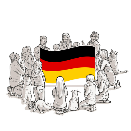 People pray for Germany Illustration