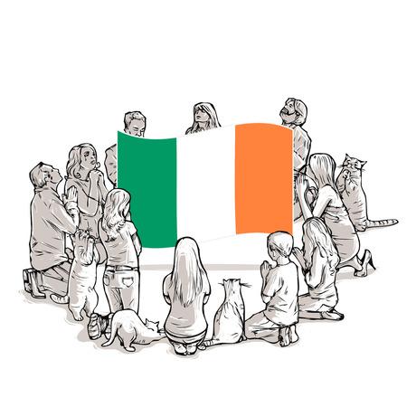 People pray for Ireland Illustration