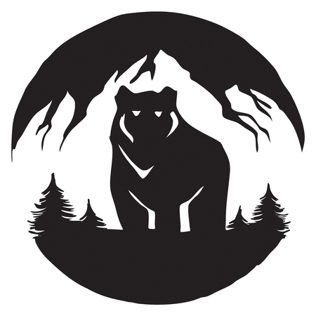 mountain bear logo nature landscape