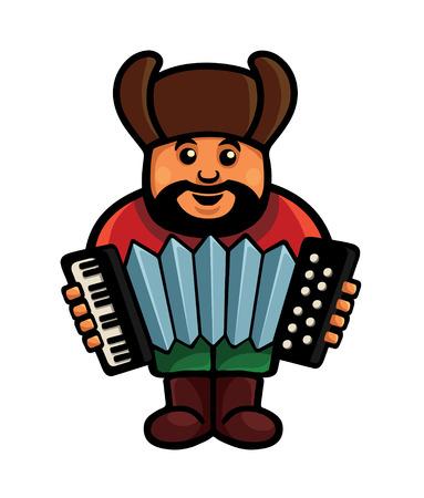 man plays on the bayan or accordion