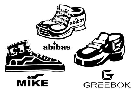 Fake shoes brands illustrations Иллюстрация