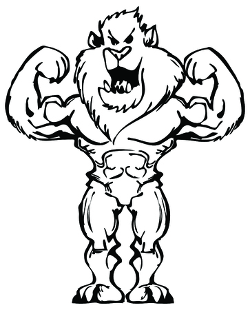 bodybuilder lion 向量圖像