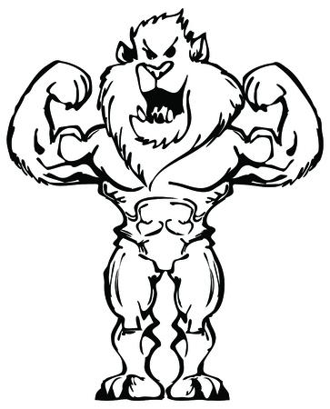 bodybuilder lion Illustration