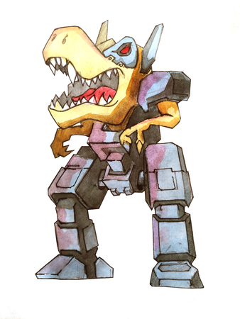 dino battle robot sketch concept Stock Photo
