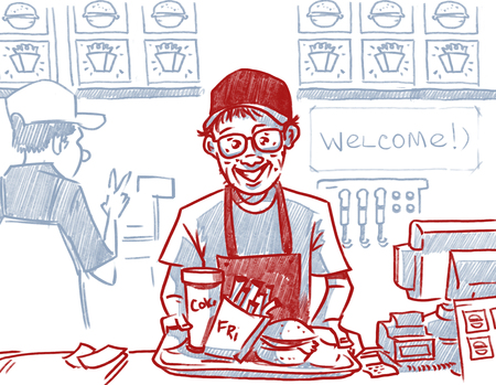 A fast food worker at a counter