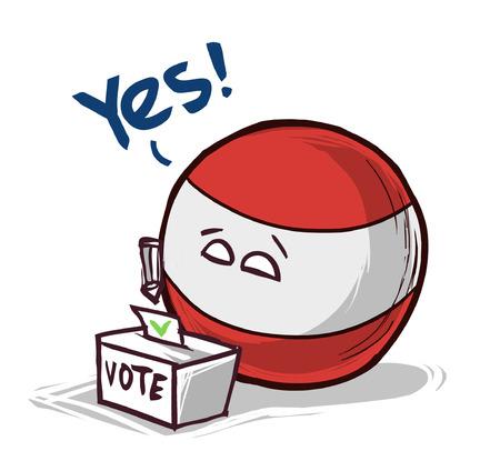 austria voting yes concept illustration