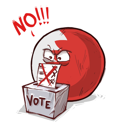 Bahrain voting no concept illustration
