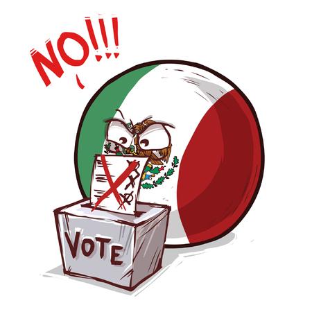 Mexico country ball voting no Ilustração