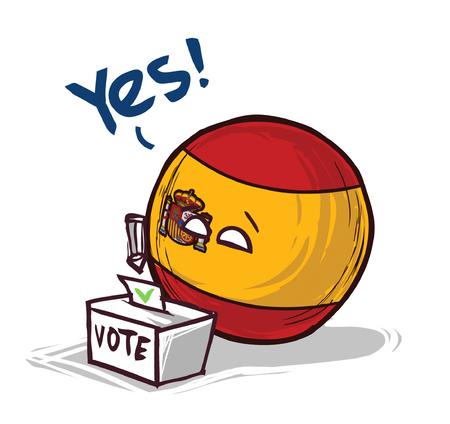 España país votando sí Ilustración de vector