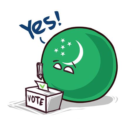 Vote au ballon national du Turkménistan oui Vecteurs