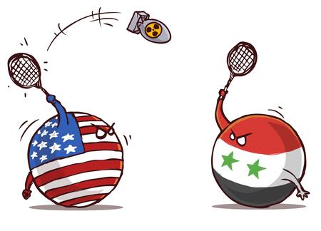 Syrië speelt badminton met de VS met een atoombom