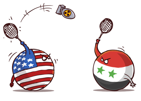 Syria playing badminton with USA using nuclear bomb