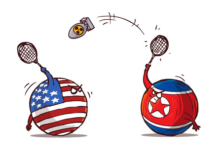 nukleares Badminton Nordkorea gegen USA Vektorgrafik