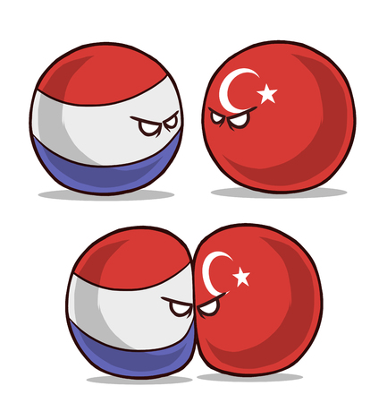 country ball netherlands versus turkey conflict 向量圖像