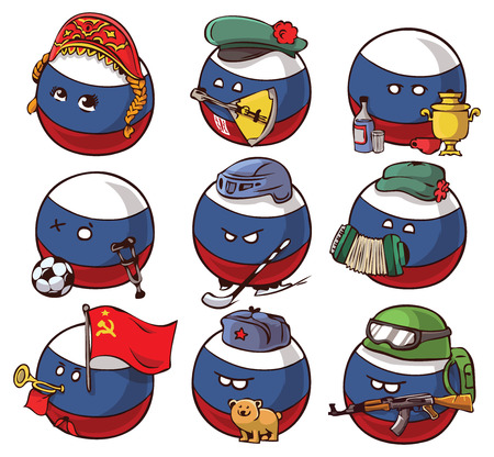 Stickers pack country ball set sticker Russia