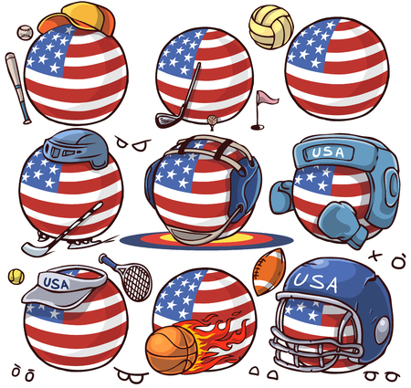 Sport team Stickers pack country ball set sticker USA 写真素材 - 114846335