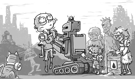 post apocalypse poor people and robots 写真素材