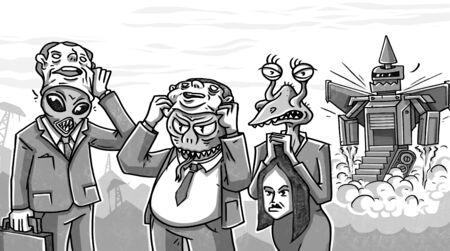 business team alien reptiloids