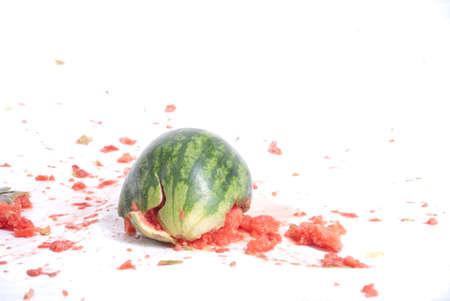 damaged watermelon Stock Photo