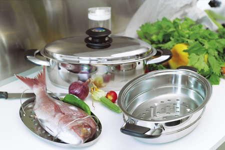 country kitchen: Country Kitchen, preparing fish Stock Photo