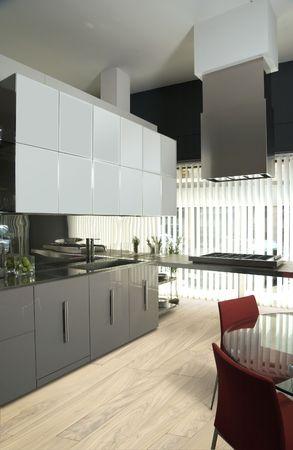 modern luxury kitchen with olive tree  parquet