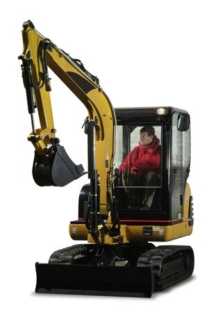 a little excavator with the driver inside photo
