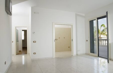 empty room with tiled floor Stock Photo