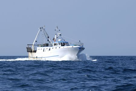 shrimp boat: Fisher boat Stock Photo