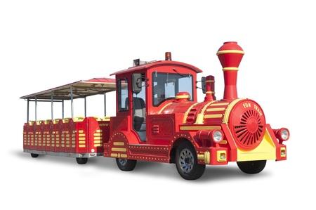 touring car: Touristic Train  fake old style locomotive isolated on white,  Stock Photo