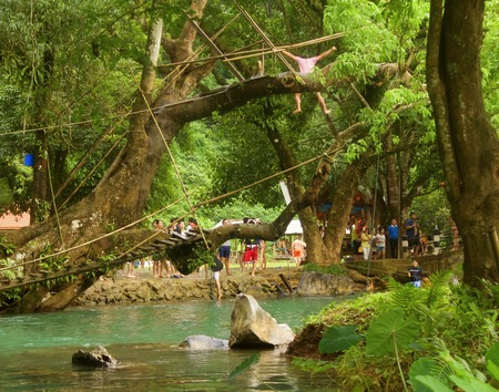 overhanging: A brave young fellow takes the plunge from a tree branch overhanging the famous blue lagoon near Vang Vieng, Laos. Editorial